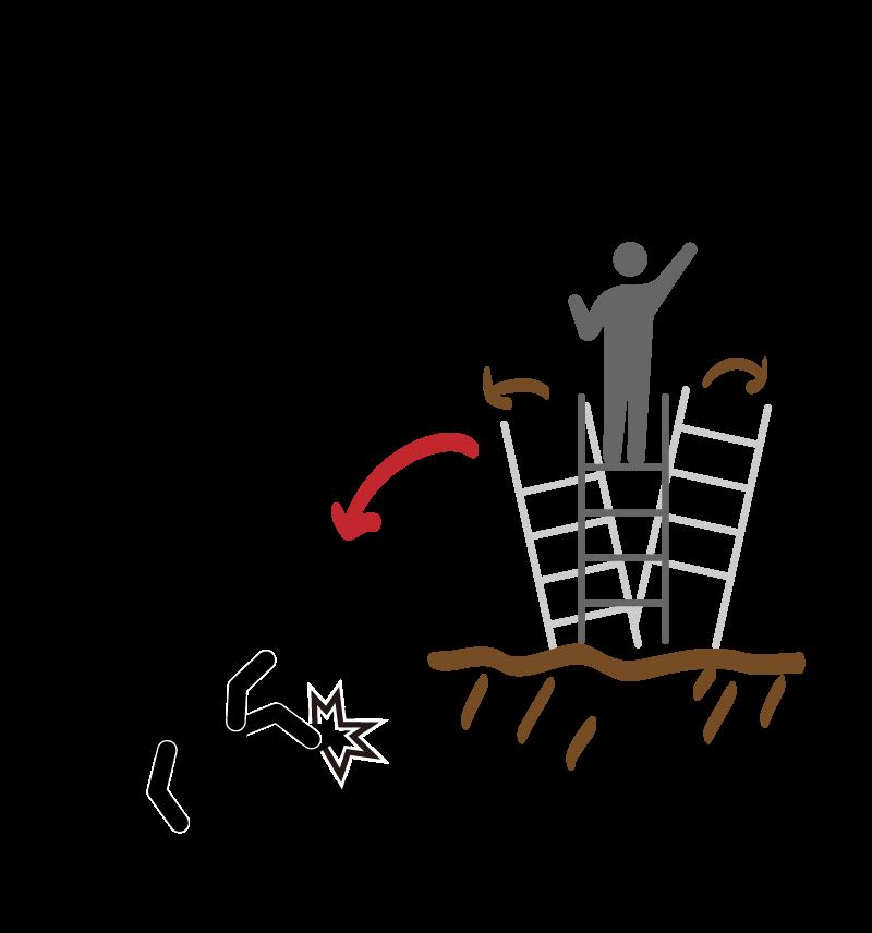 脚立の危険な場面のイメージ